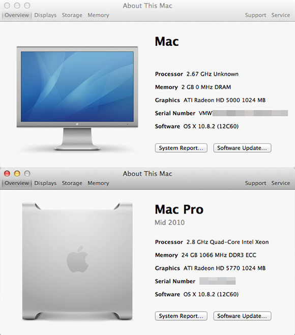 comparison of about this mac dialog between OS X VM, and OS X running on the Mac Pro